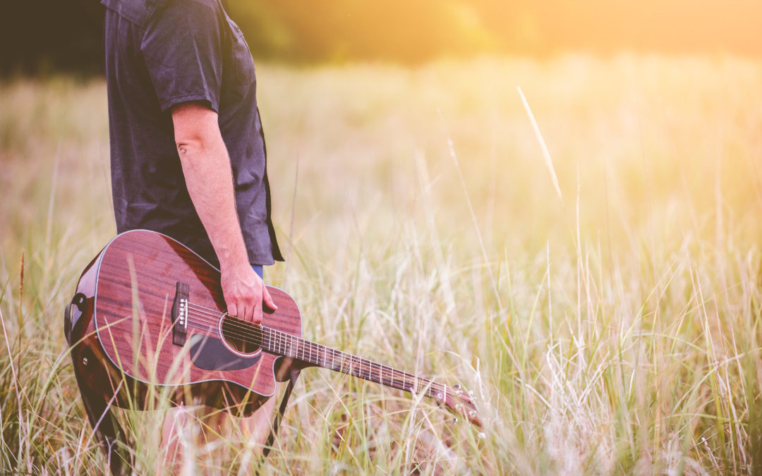 Guitarist in a field